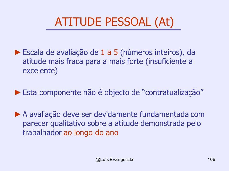 ATITUDE PESSOAL (At) Escala de avaliação de 1 a 5 (números inteiros), da atitude mais fraca para a mais forte (insuficiente a excelente)