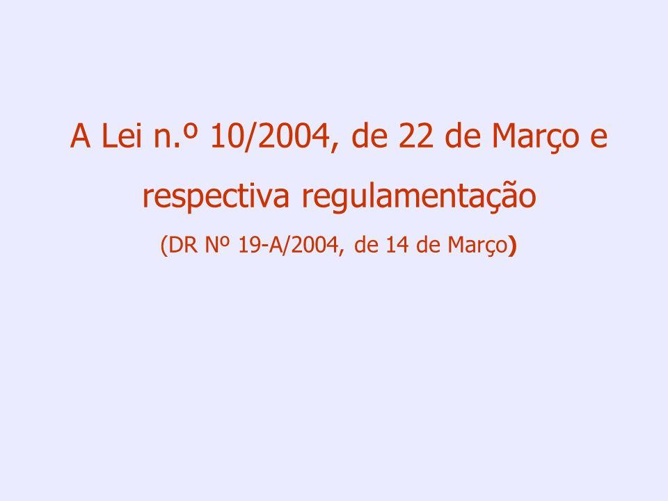 A Lei n.º 10/2004, de 22 de Março e respectiva regulamentação (DR Nº 19-A/2004, de 14 de Março)