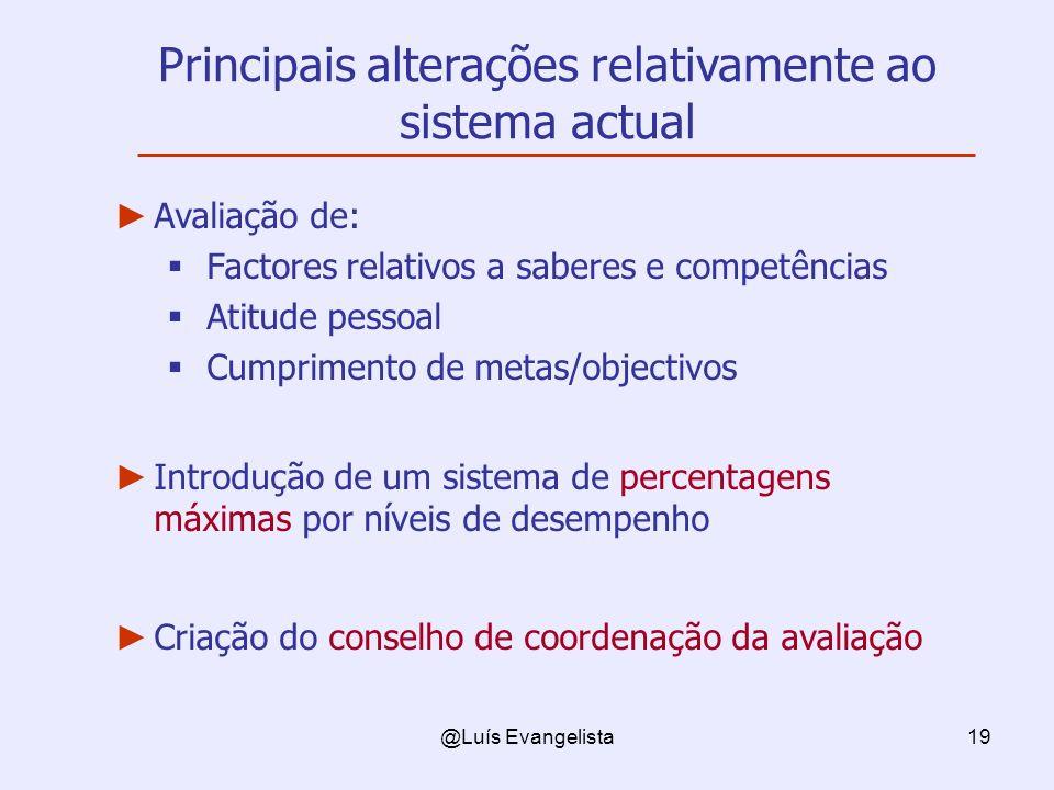 Principais alterações relativamente ao sistema actual