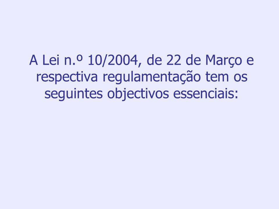 A Lei n.º 10/2004, de 22 de Março e respectiva regulamentação tem os seguintes objectivos essenciais: