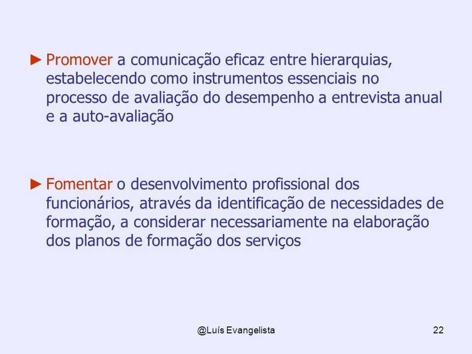 Promover a comunicação eficaz entre hierarquias, estabelecendo como instrumentos essenciais no processo de avaliação do desempenho a entrevista anual e a auto-avaliação