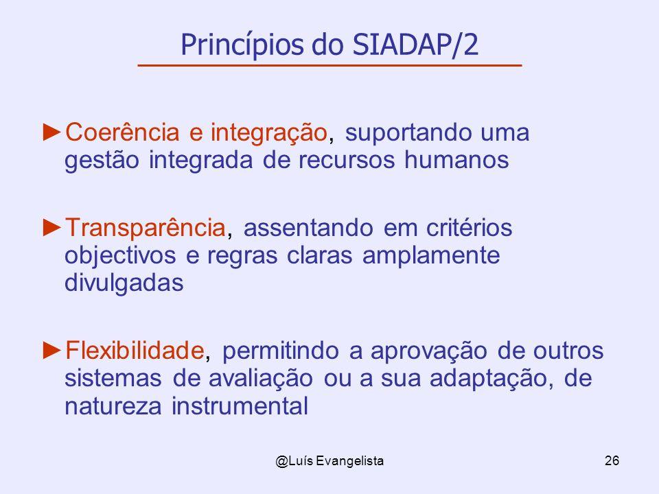 Princípios do SIADAP/2 Coerência e integração, suportando uma gestão integrada de recursos humanos.