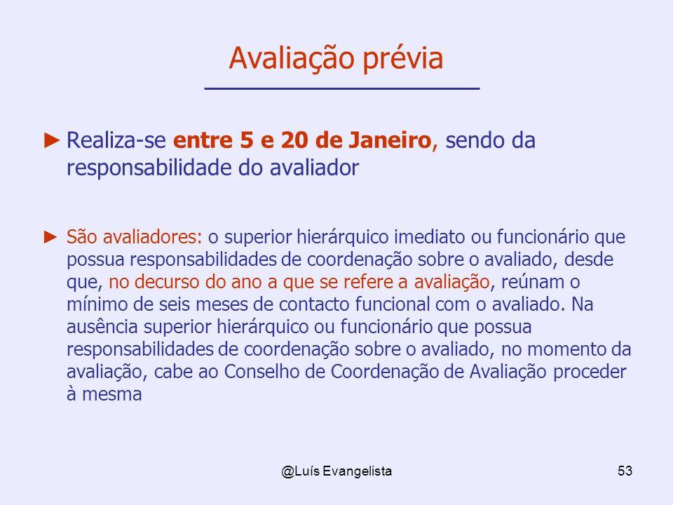 Avaliação prévia Realiza-se entre 5 e 20 de Janeiro, sendo da responsabilidade do avaliador.