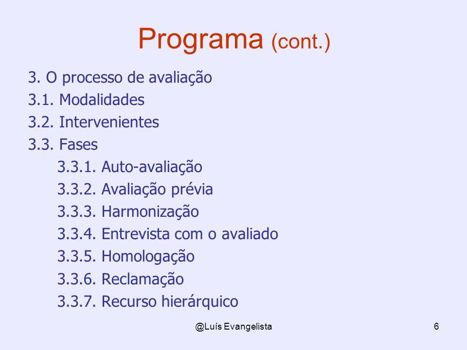Programa (cont.) 3. O processo de avaliação 3.1. Modalidades