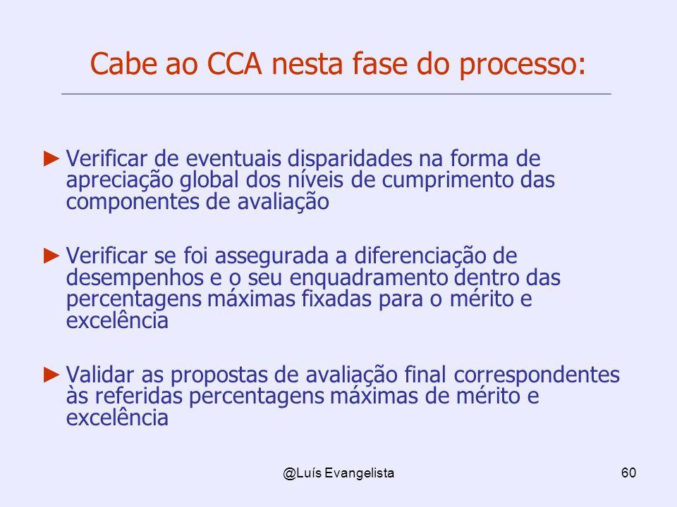 Cabe ao CCA nesta fase do processo: