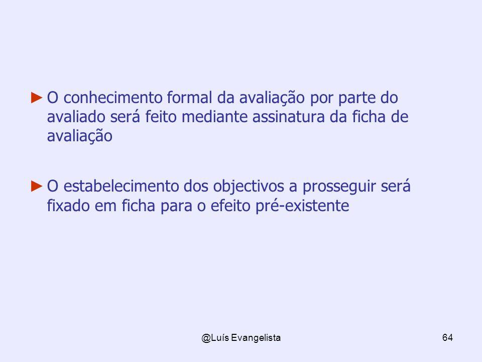 O conhecimento formal da avaliação por parte do avaliado será feito mediante assinatura da ficha de avaliação