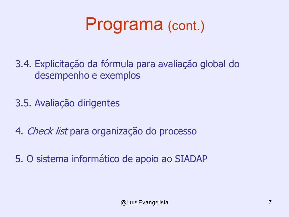 Programa (cont.) 3.4. Explicitação da fórmula para avaliação global do desempenho e exemplos. 3.5. Avaliação dirigentes.