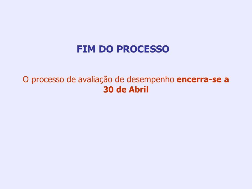 O processo de avaliação de desempenho encerra-se a 30 de Abril