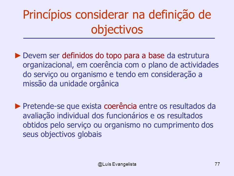Princípios considerar na definição de objectivos