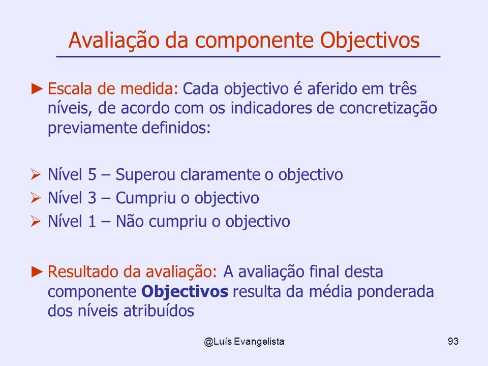 Avaliação da componente Objectivos
