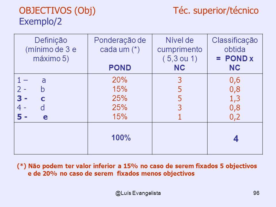 OBJECTIVOS (Obj) Téc. superior/técnico Exemplo/2