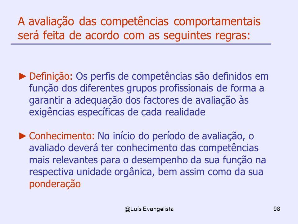 A avaliação das competências comportamentais será feita de acordo com as seguintes regras: