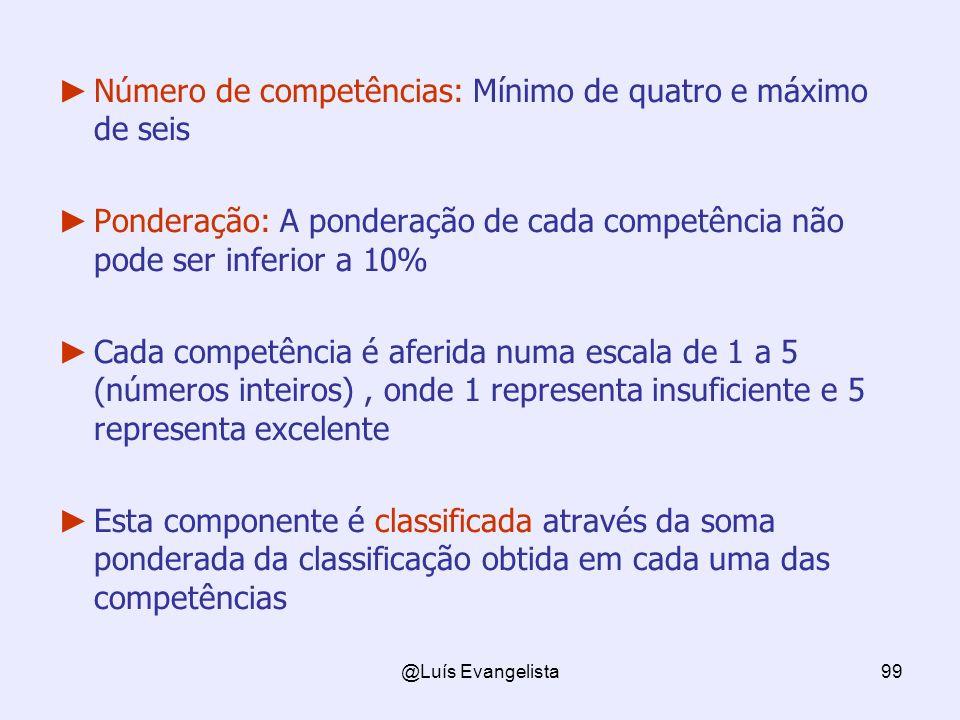 Número de competências: Mínimo de quatro e máximo de seis
