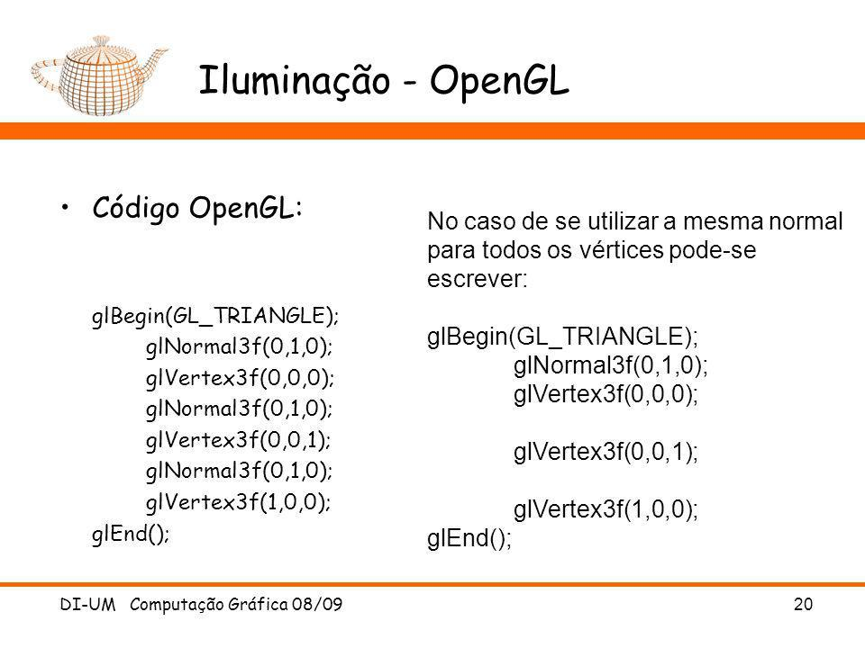 Iluminação - OpenGL Código OpenGL: