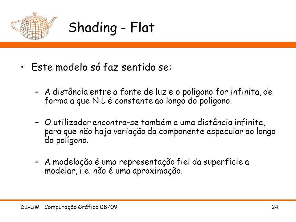 Shading - Flat Este modelo só faz sentido se: