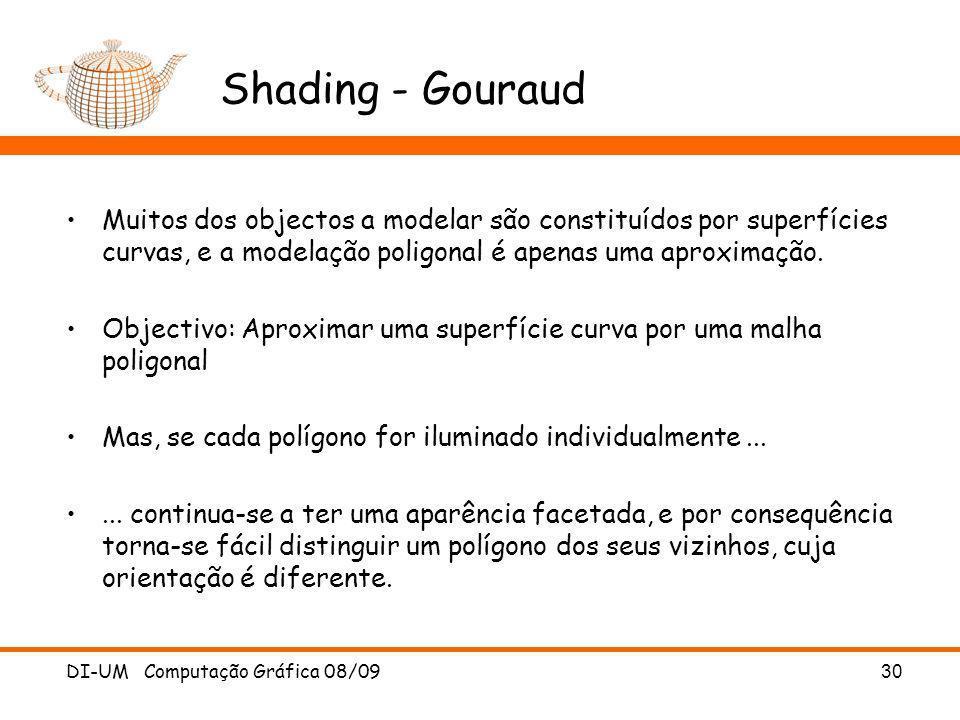 Shading - GouraudMuitos dos objectos a modelar são constituídos por superfícies curvas, e a modelação poligonal é apenas uma aproximação.