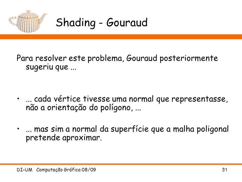 Shading - Gouraud Para resolver este problema, Gouraud posteriormente sugeriu que ...