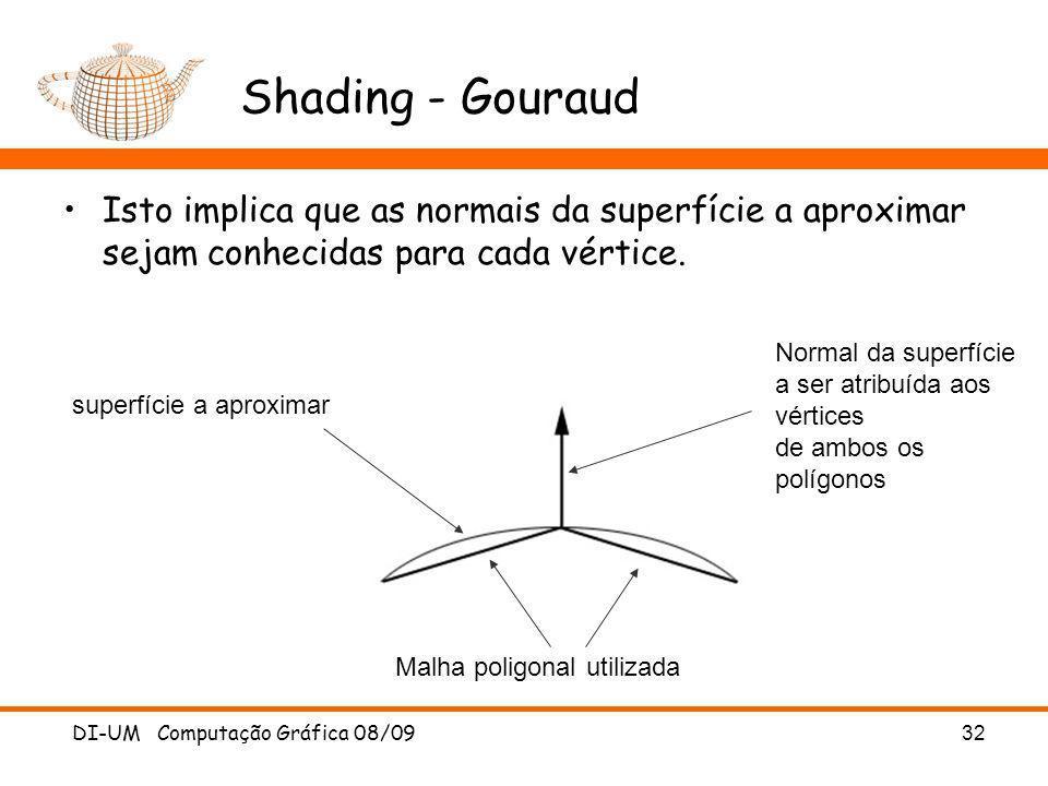 Shading - GouraudIsto implica que as normais da superfície a aproximar sejam conhecidas para cada vértice.