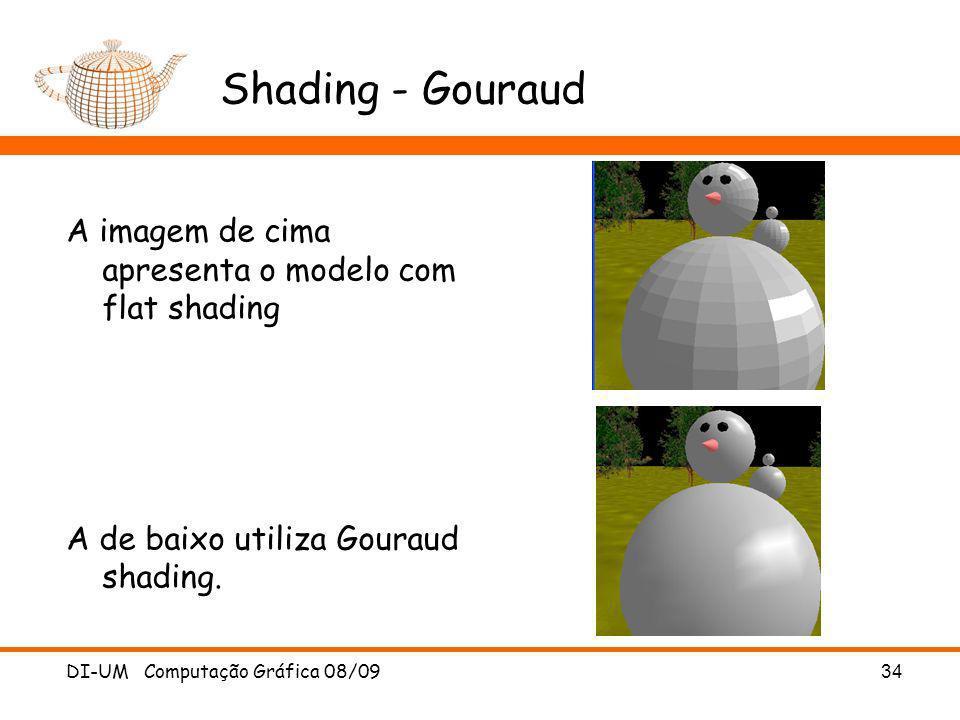 Shading - Gouraud A imagem de cima apresenta o modelo com flat shading