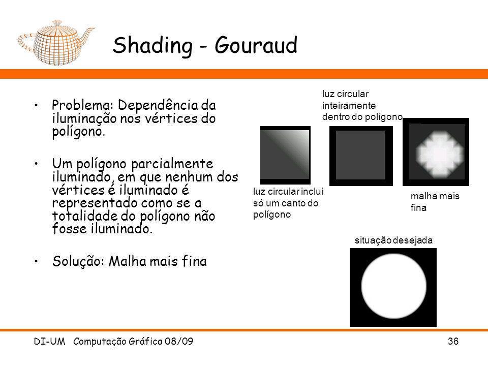 Shading - Gouraud Problema: Dependência da iluminação nos vértices do polígono.