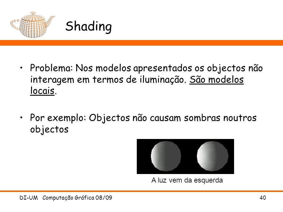 Shading Problema: Nos modelos apresentados os objectos não interagem em termos de iluminação. São modelos locais.