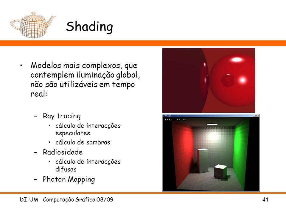 Shading Modelos mais complexos, que contemplem iluminação global, não são utilizáveis em tempo real: