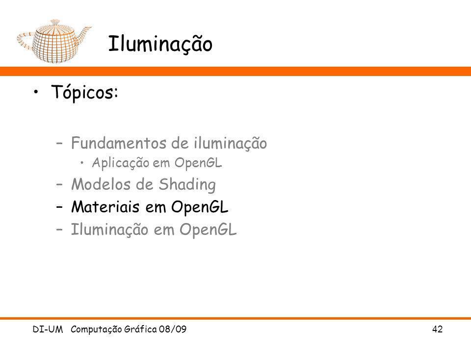 Iluminação Tópicos: Fundamentos de iluminação Modelos de Shading