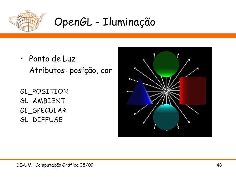 OpenGL - Iluminação Ponto de Luz Atributos: posição, cor GL_POSITION