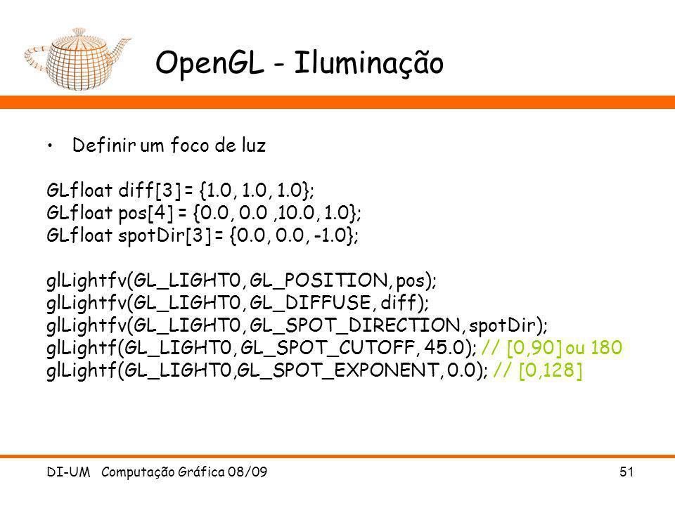 OpenGL - Iluminação Definir um foco de luz
