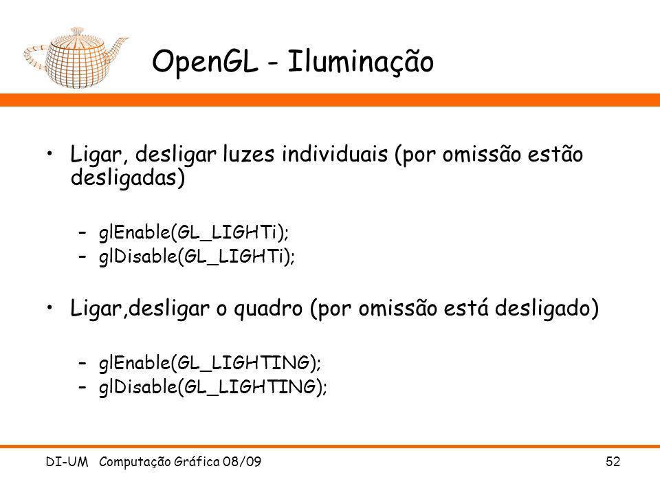 OpenGL - Iluminação Ligar, desligar luzes individuais (por omissão estão desligadas) glEnable(GL_LIGHTi);