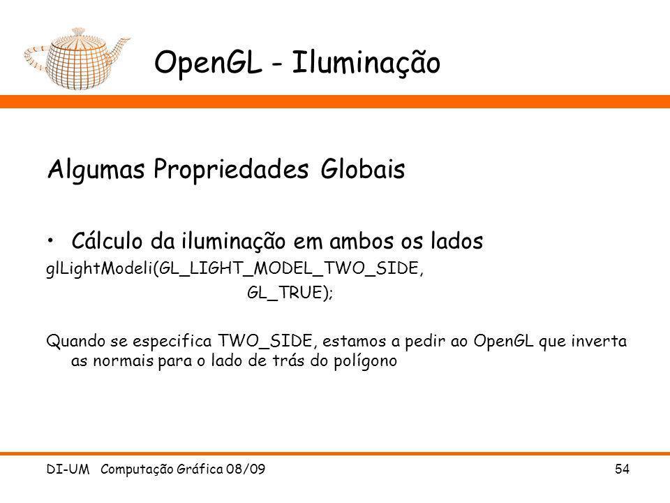 OpenGL - Iluminação Algumas Propriedades Globais