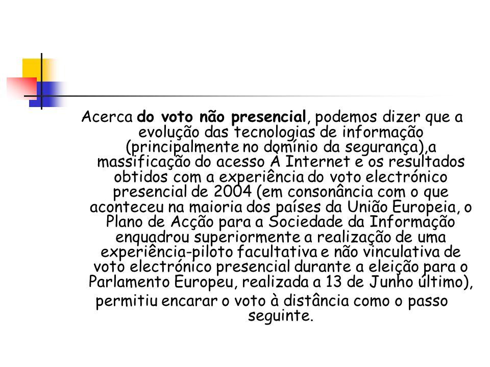 permitiu encarar o voto à distância como o passo seguinte.