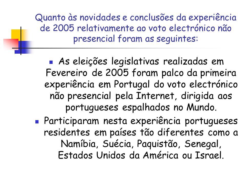 Quanto às novidades e conclusões da experiência de 2005 relativamente ao voto electrónico não presencial foram as seguintes:
