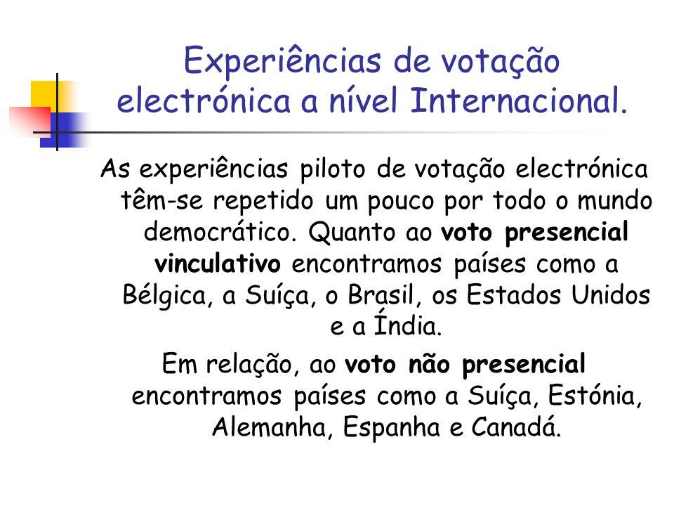 Experiências de votação electrónica a nível Internacional.