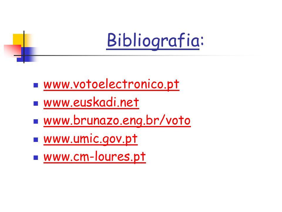 Bibliografia: www.votoelectronico.pt www.euskadi.net