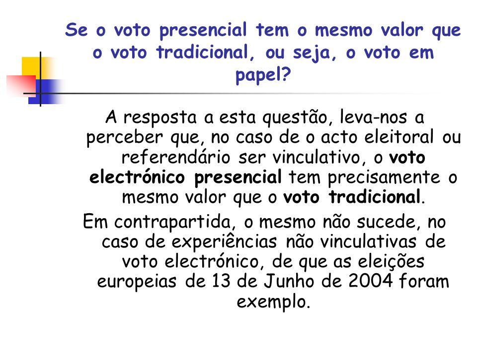 Se o voto presencial tem o mesmo valor que o voto tradicional, ou seja, o voto em papel