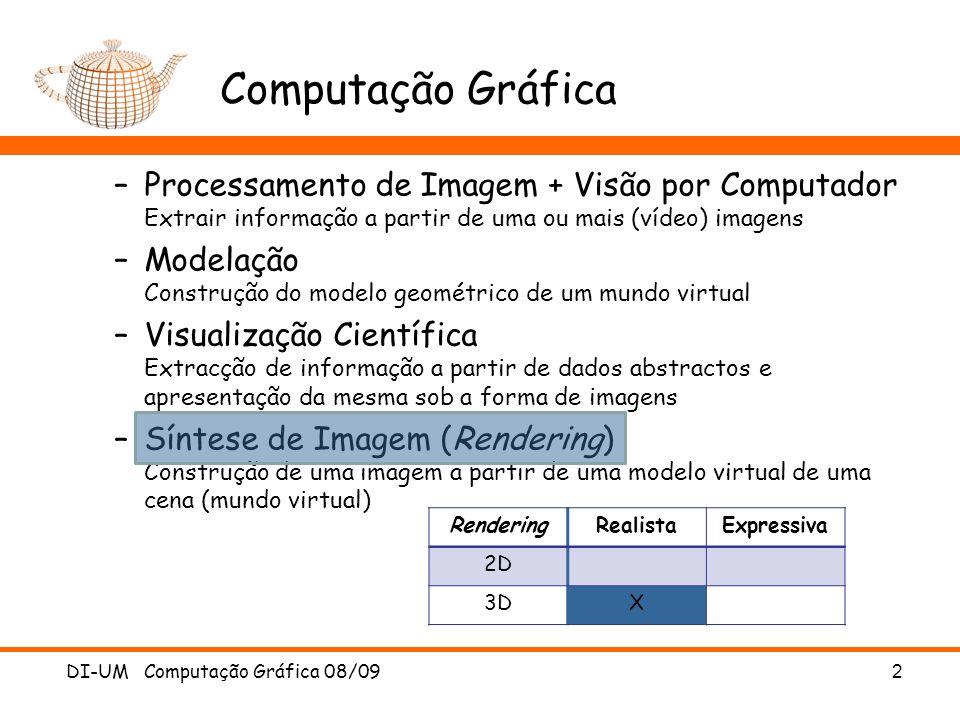 Computação Gráfica Processamento de Imagem + Visão por Computador Extrair informação a partir de uma ou mais (vídeo) imagens.