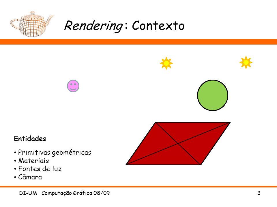 Rendering : Contexto Entidades Primitivas geométricas Materiais
