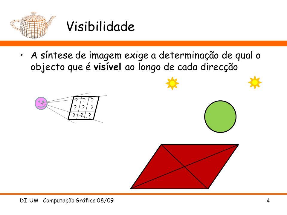 Visibilidade A síntese de imagem exige a determinação de qual o objecto que é visível ao longo de cada direcção.