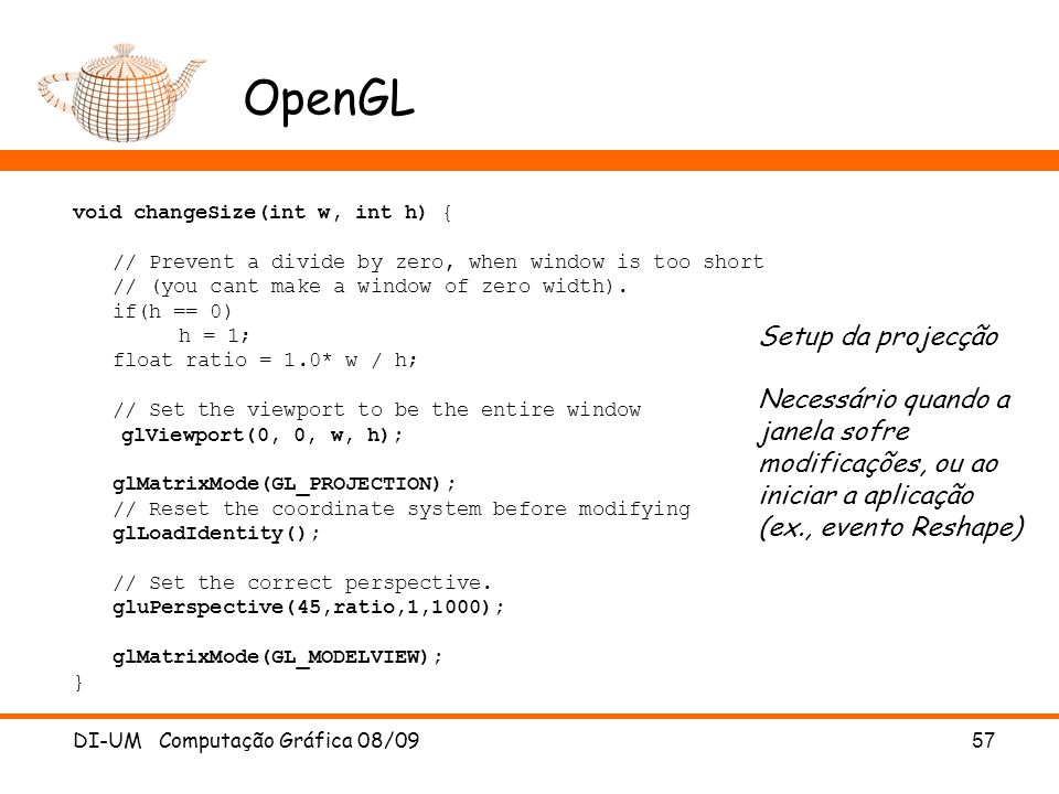 OpenGL Setup da projecção