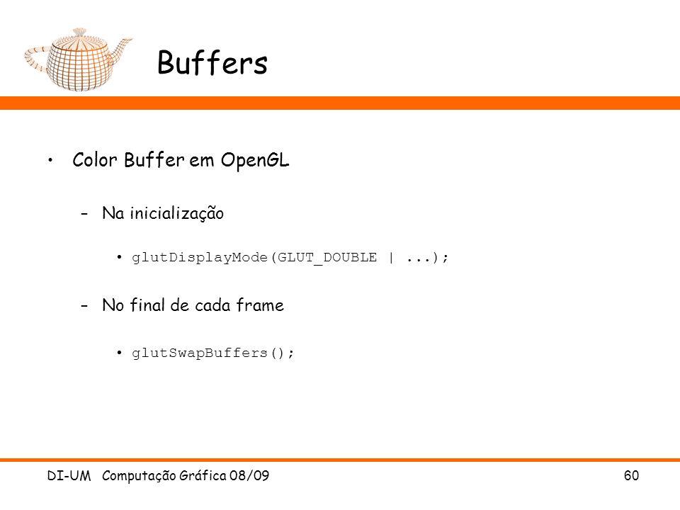 Buffers Color Buffer em OpenGL Na inicialização No final de cada frame