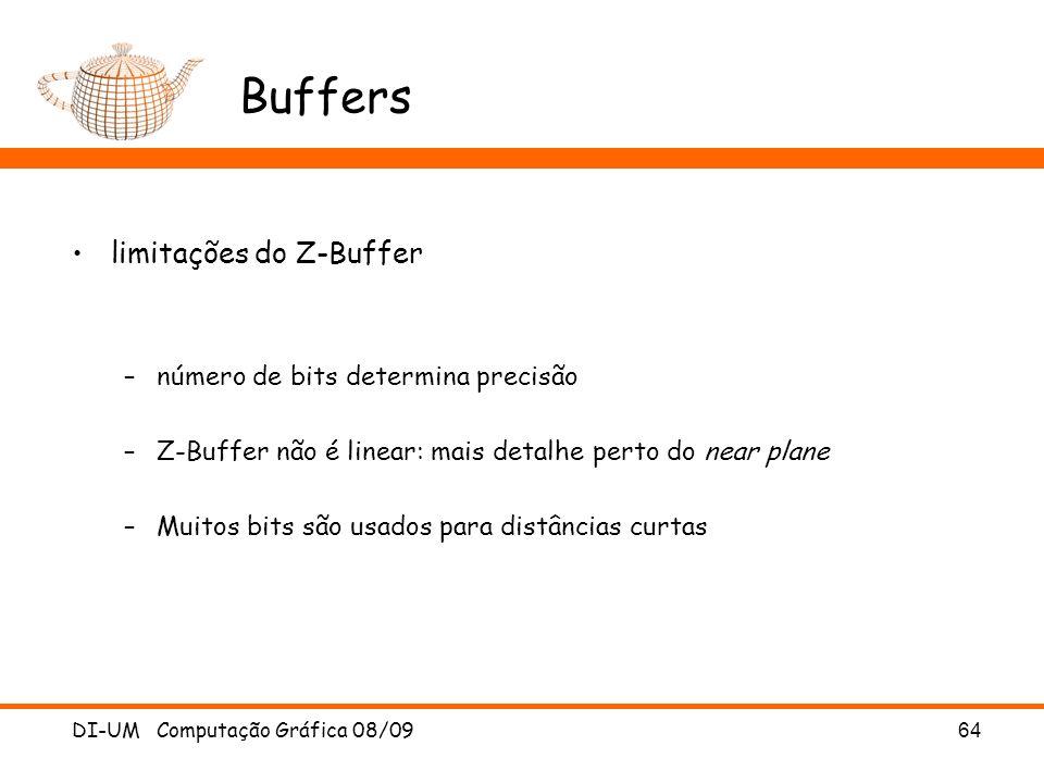 Buffers limitações do Z-Buffer número de bits determina precisão