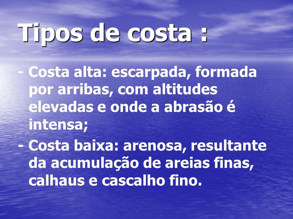 Tipos de costa : - Costa alta: escarpada, formada por arribas, com altitudes elevadas e onde a abrasão é intensa;