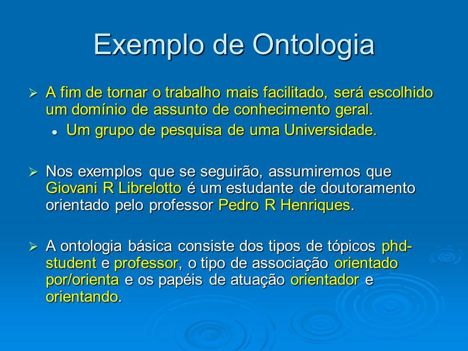 Exemplo de Ontologia A fim de tornar o trabalho mais facilitado, será escolhido um domínio de assunto de conhecimento geral.