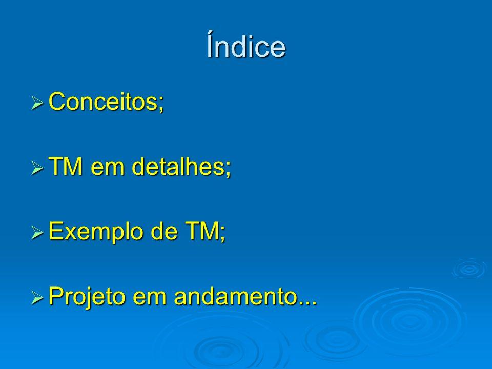 Índice Conceitos; TM em detalhes; Exemplo de TM;