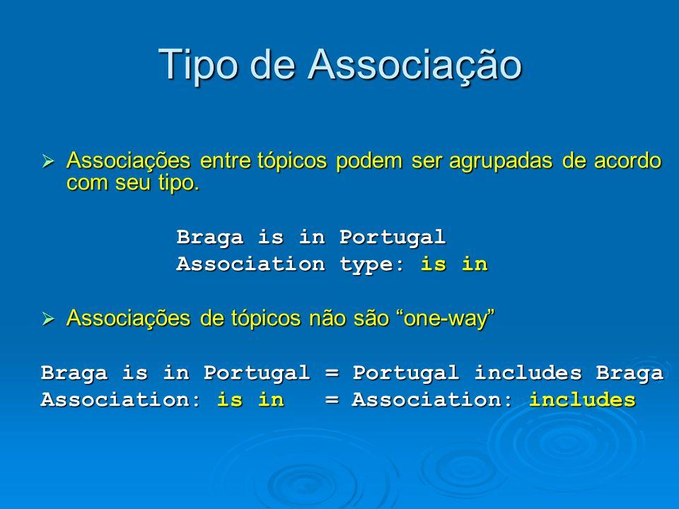 Tipo de Associação Associações entre tópicos podem ser agrupadas de acordo com seu tipo. Braga is in Portugal.
