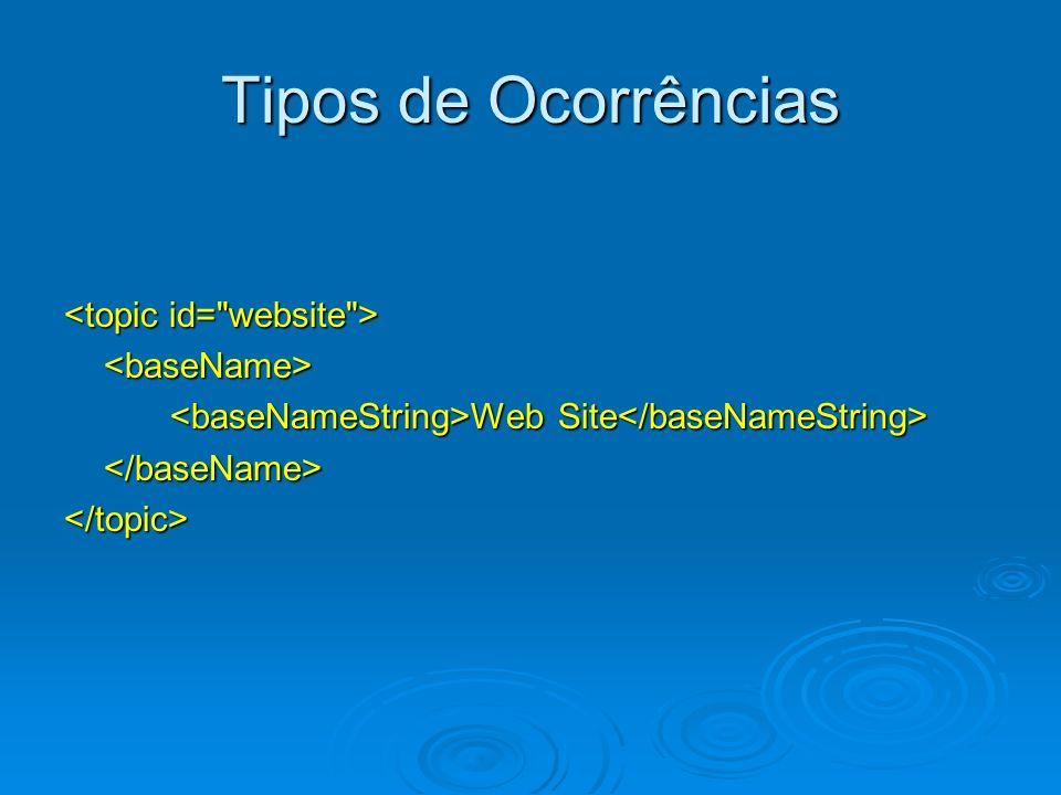 Tipos de Ocorrências <topic id= website > <baseName>