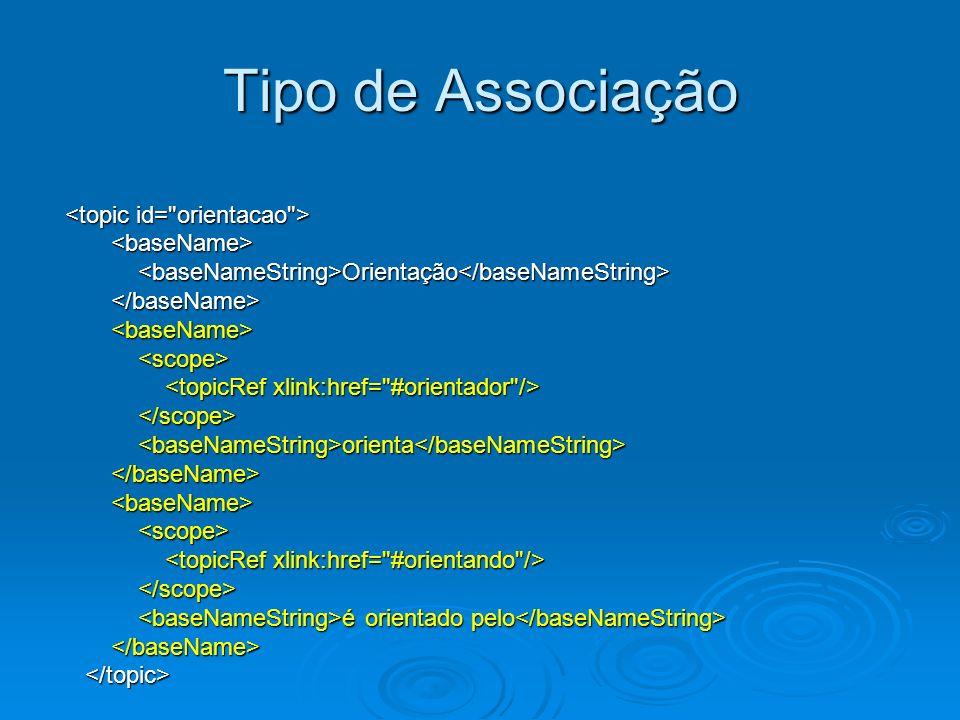 Tipo de Associação <topic id= orientacao > <baseName>
