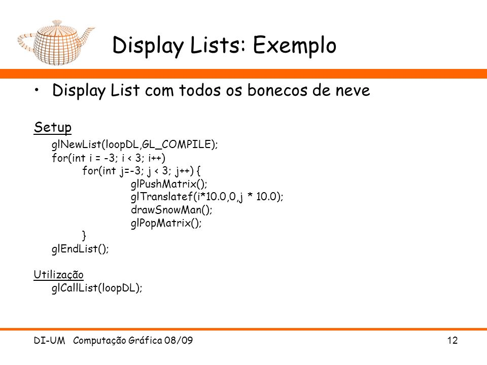 Display Lists: Exemplo