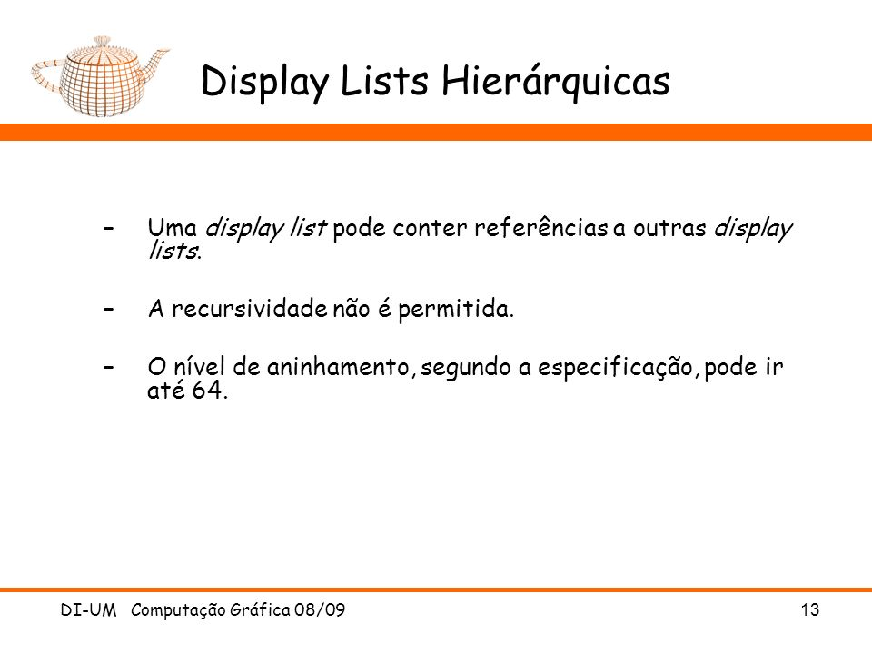 Display Lists Hierárquicas